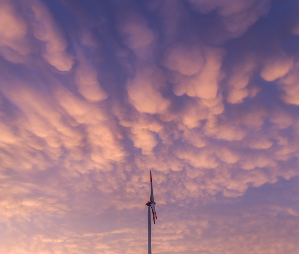 white clouds over the wind turbines