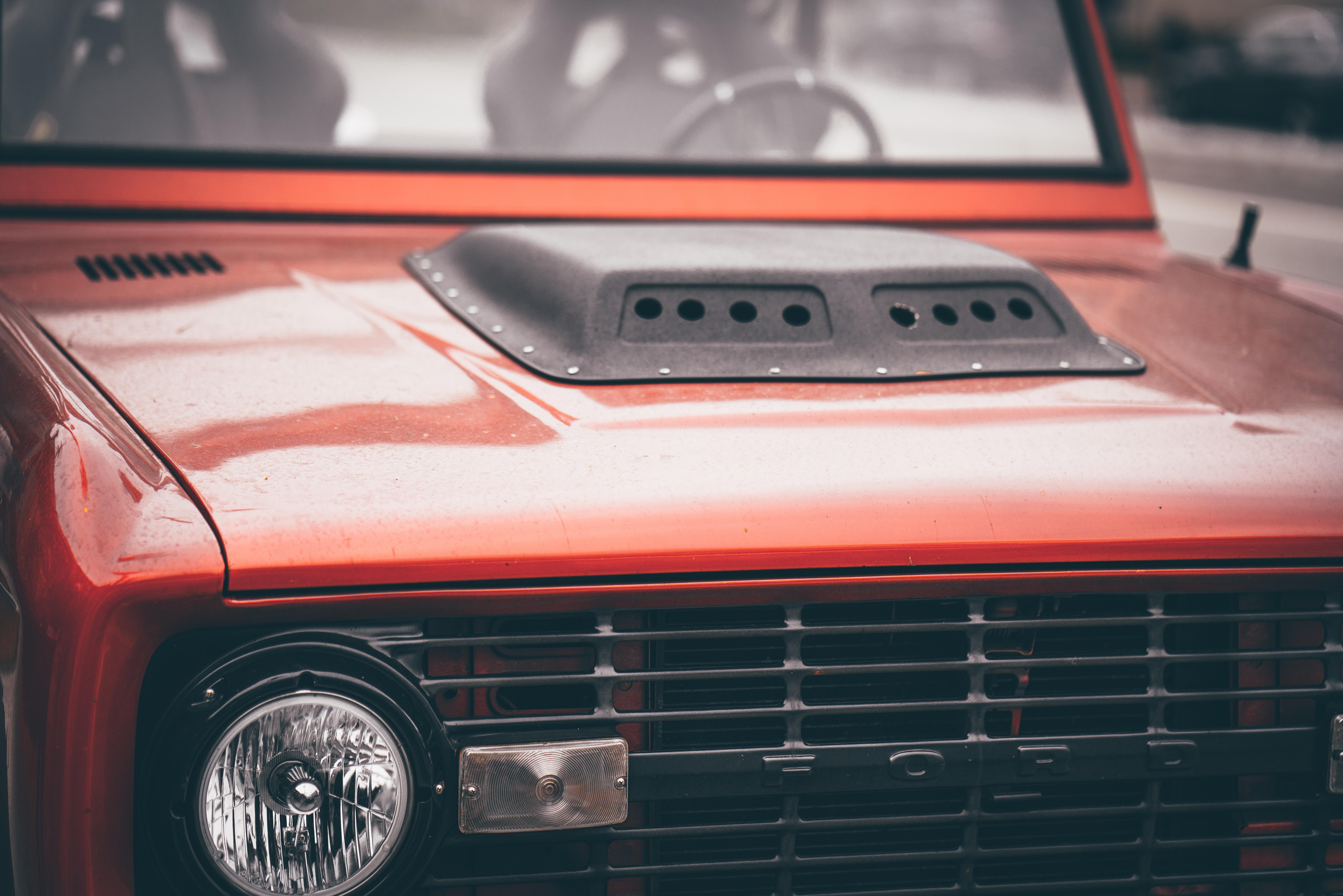 A red Ford car in Santa Monica