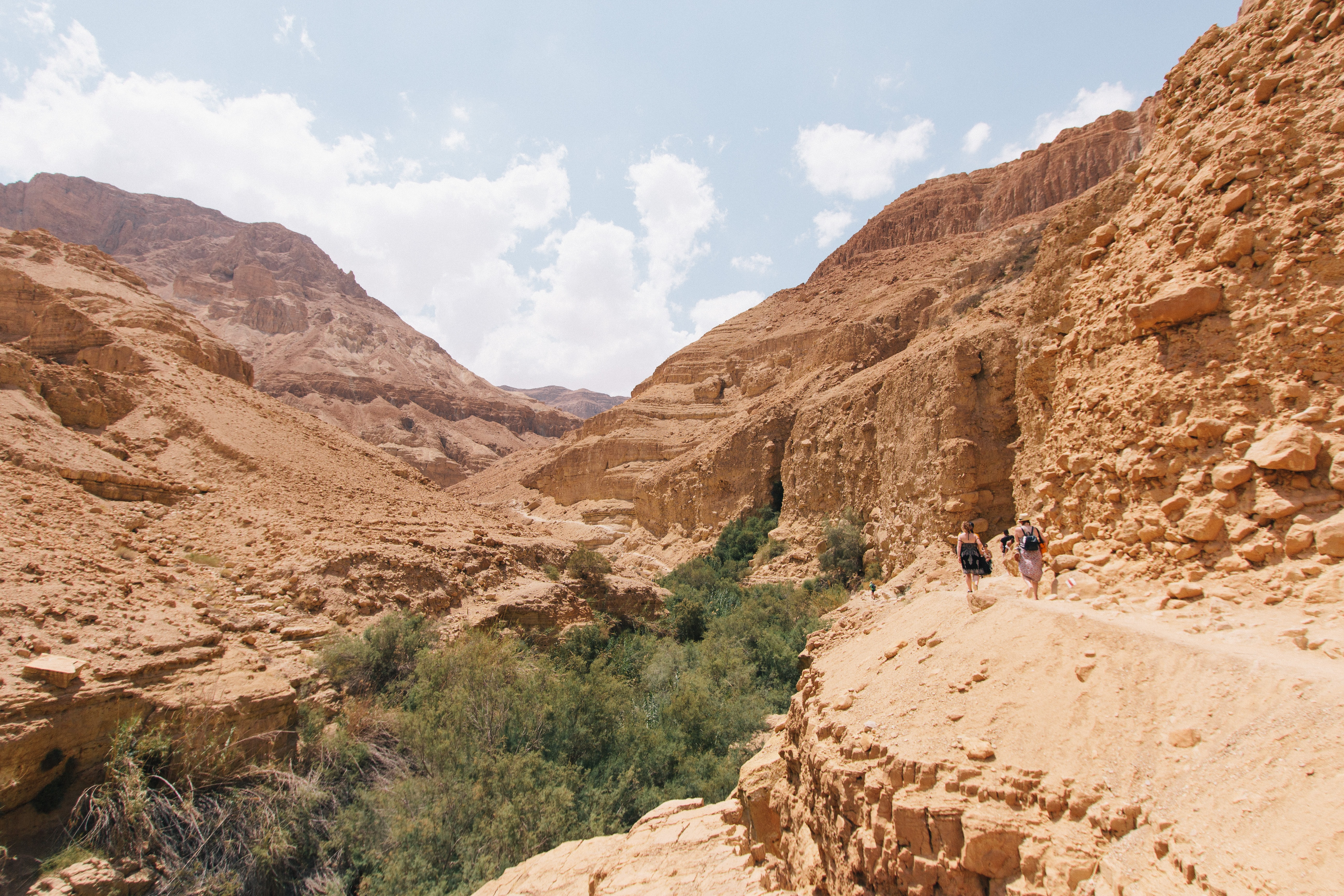 Rocky mountain ridges in the dry desert of Ein Gedi Reserve