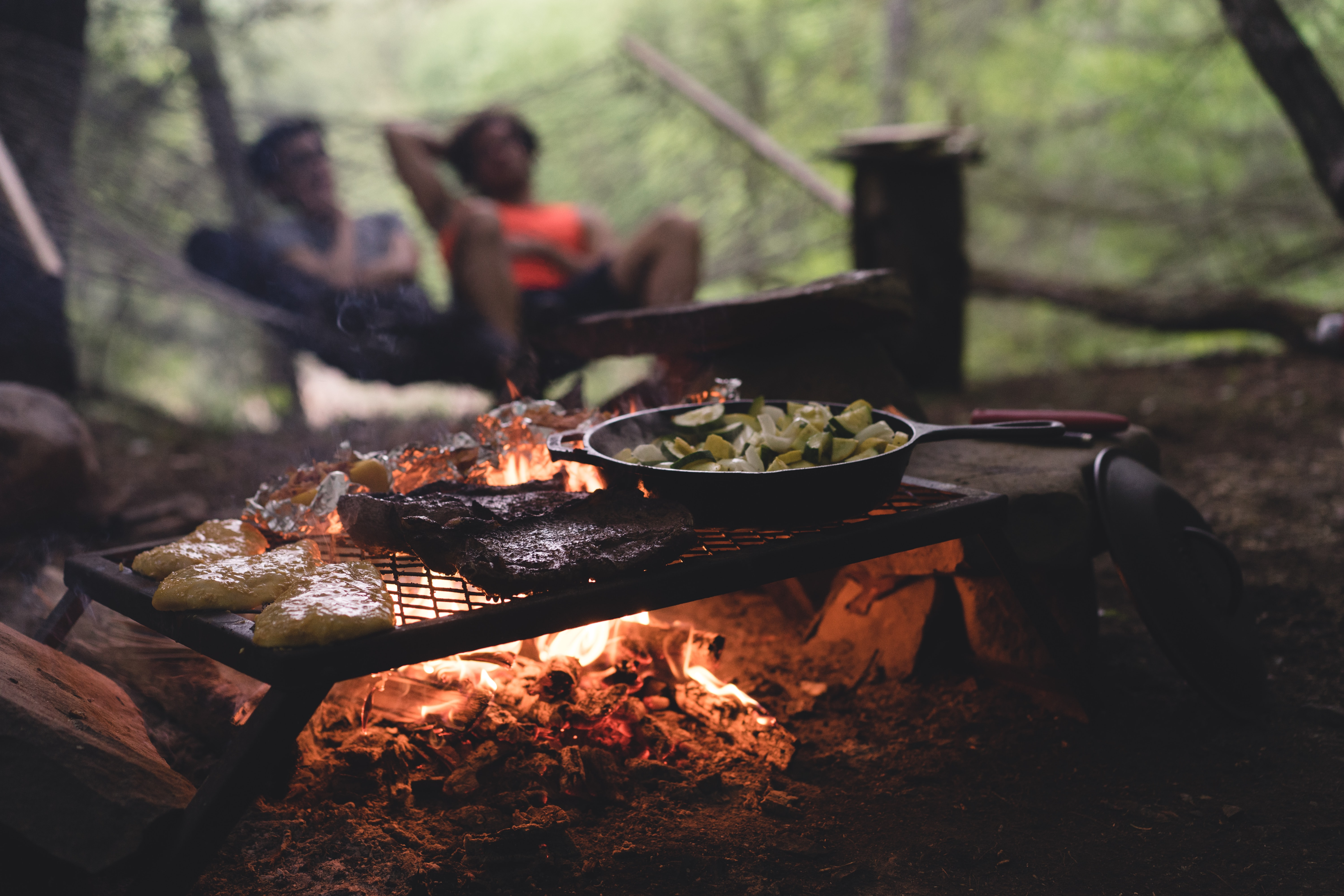 Meat, vegetables, and other food grill over campfire while relaxing in the woods