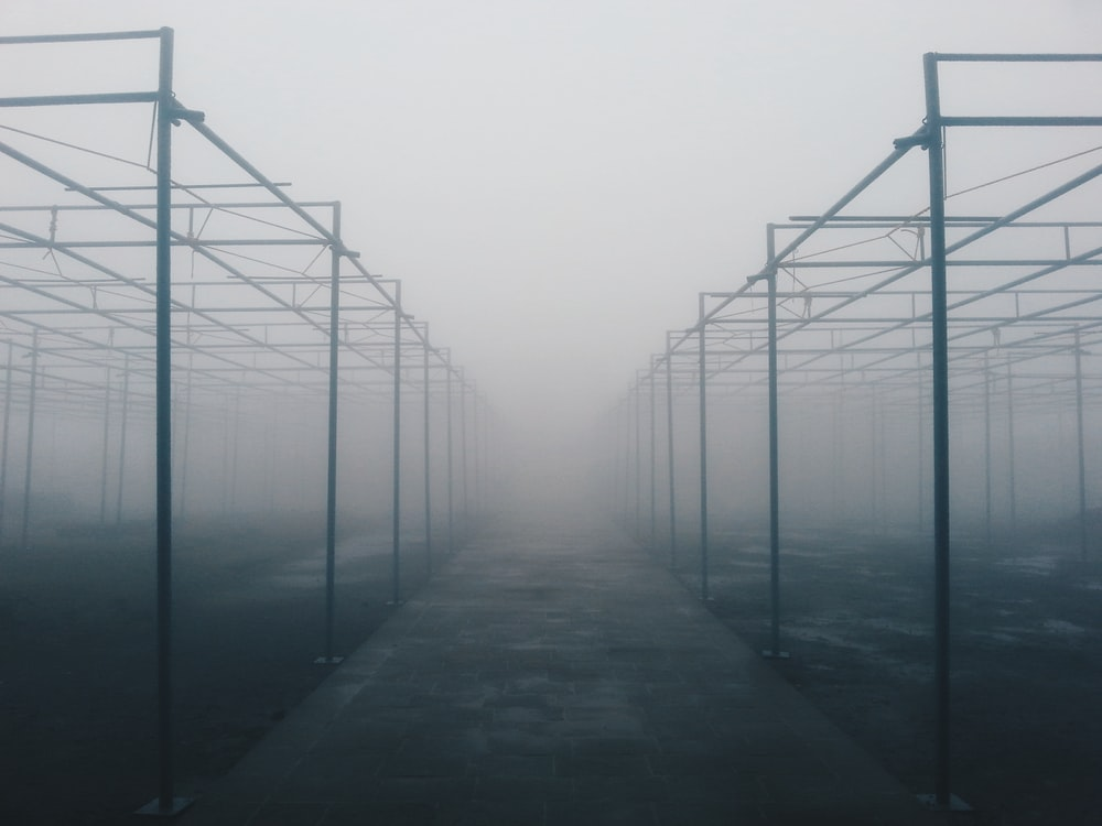 architectural photography of foggy metal building frames