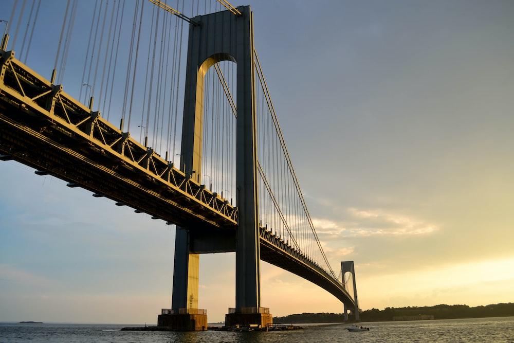 gray metal bridge across body of water