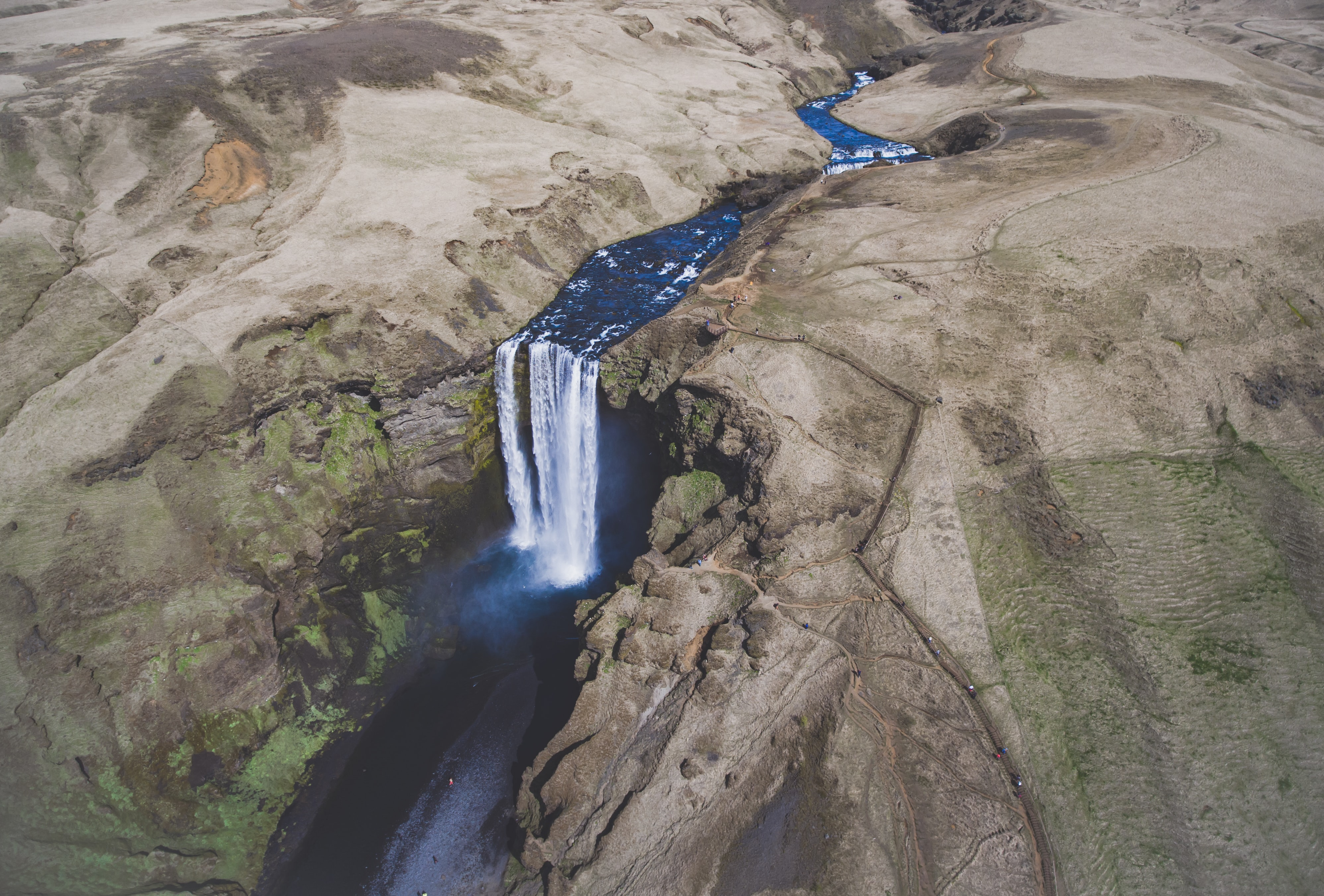 aerial shot of waterfalls