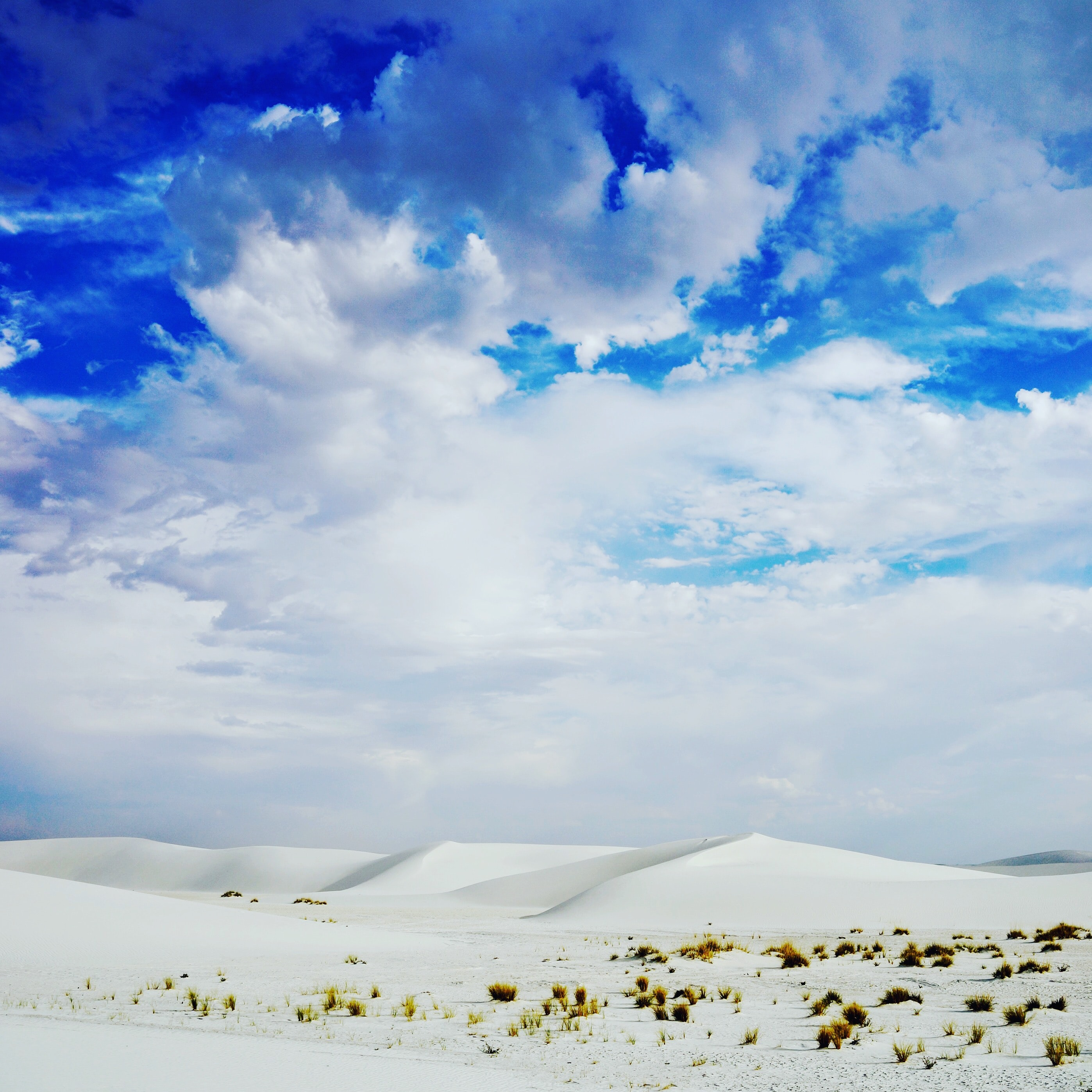 Sunny sky in the desert of White Sands National Monument