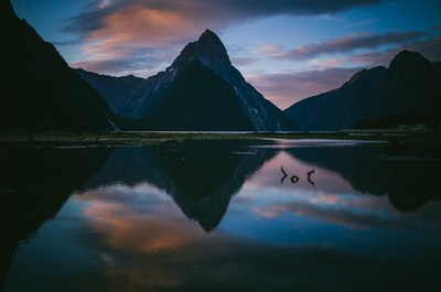 photo of lake with reflection of mountains under cloudy sky zealand teams background