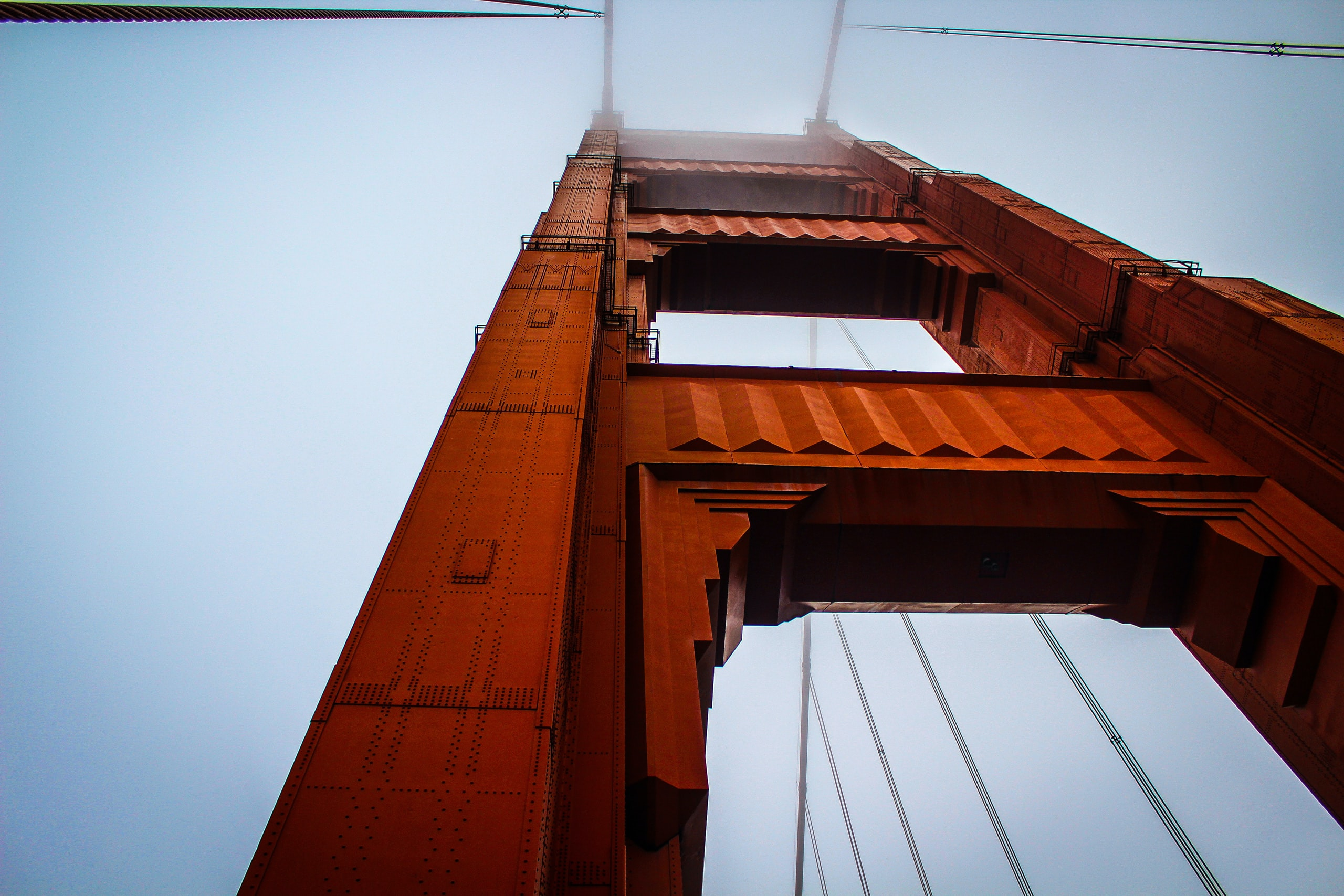 Unique perspective of Golden Gate Bridge on a foggy day