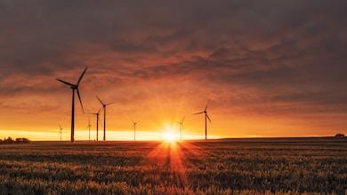 windmill on grass field during golden hour