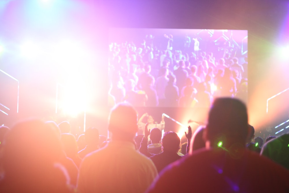 group of people having a party inside dark room with light effects
