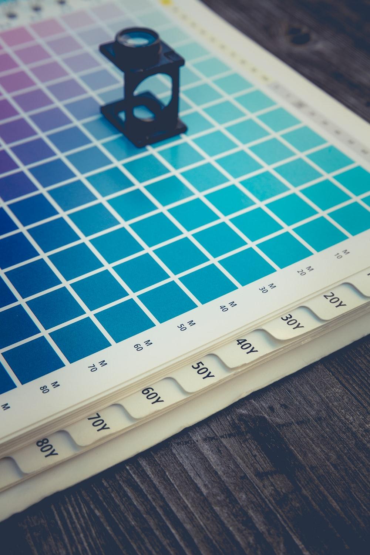 black plastic color scope on color board