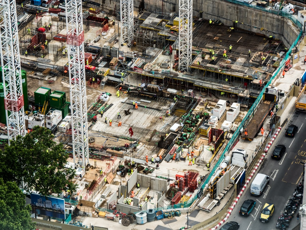 aerial photography of building construction