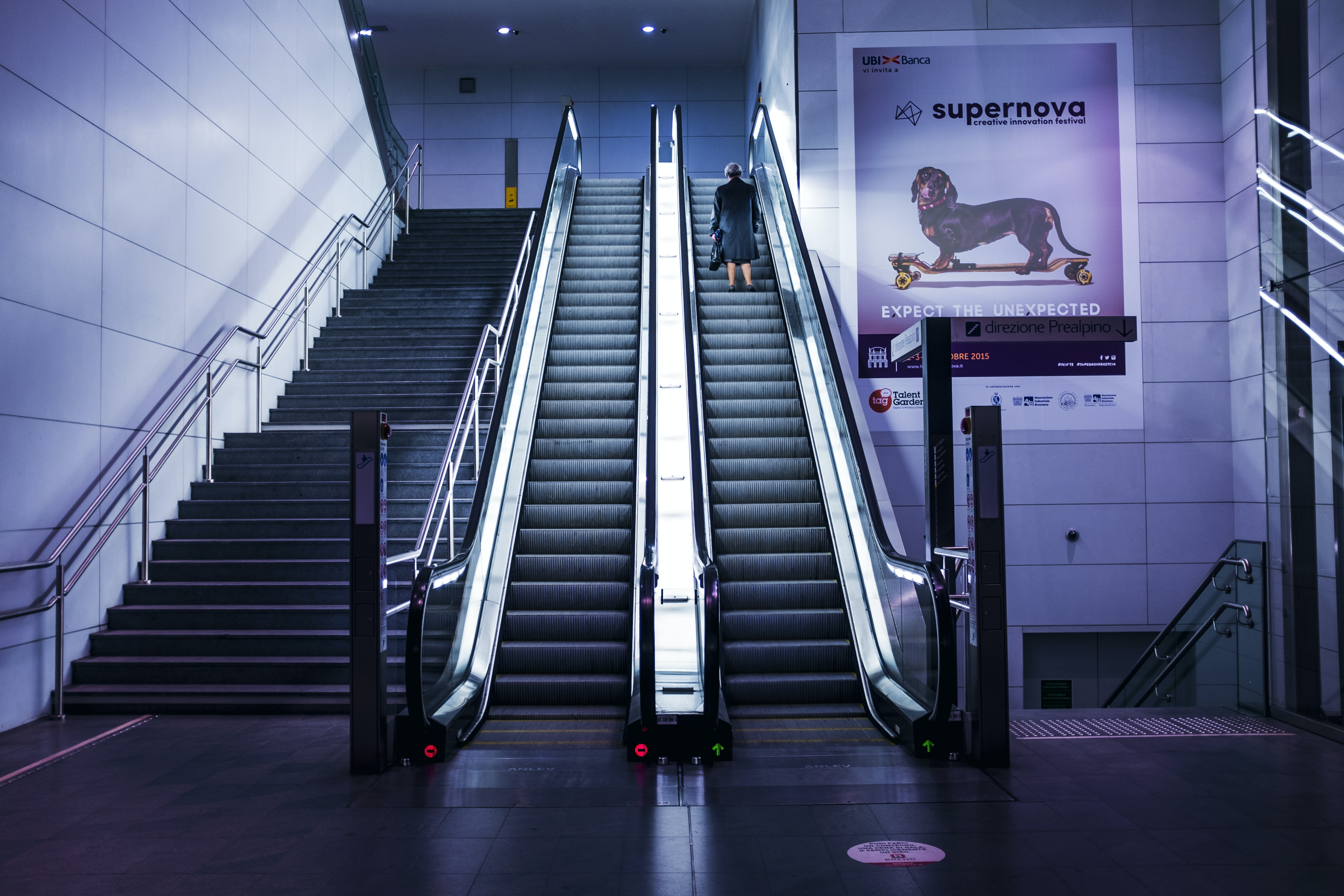 Underground escalator with modern architecture with a poster on the wall of a dog