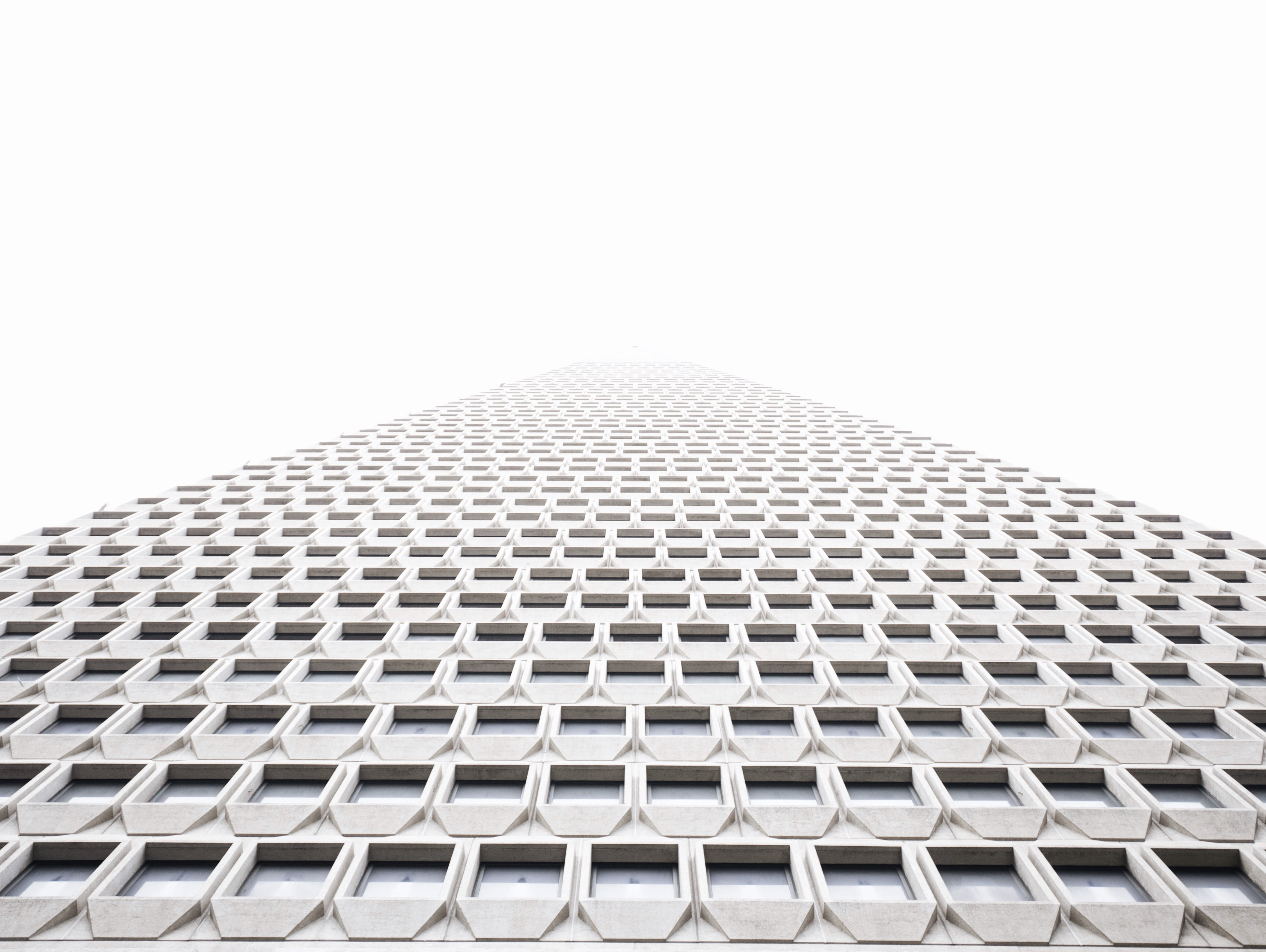 A low-angle shot of a towering building with a white facade