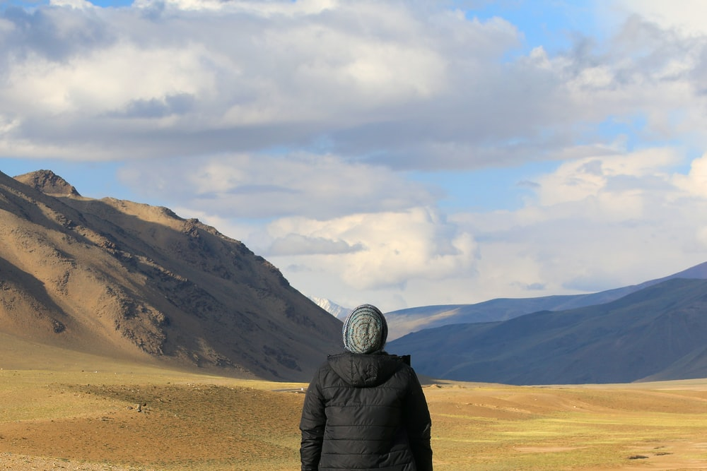 person standing in front of brown mountain