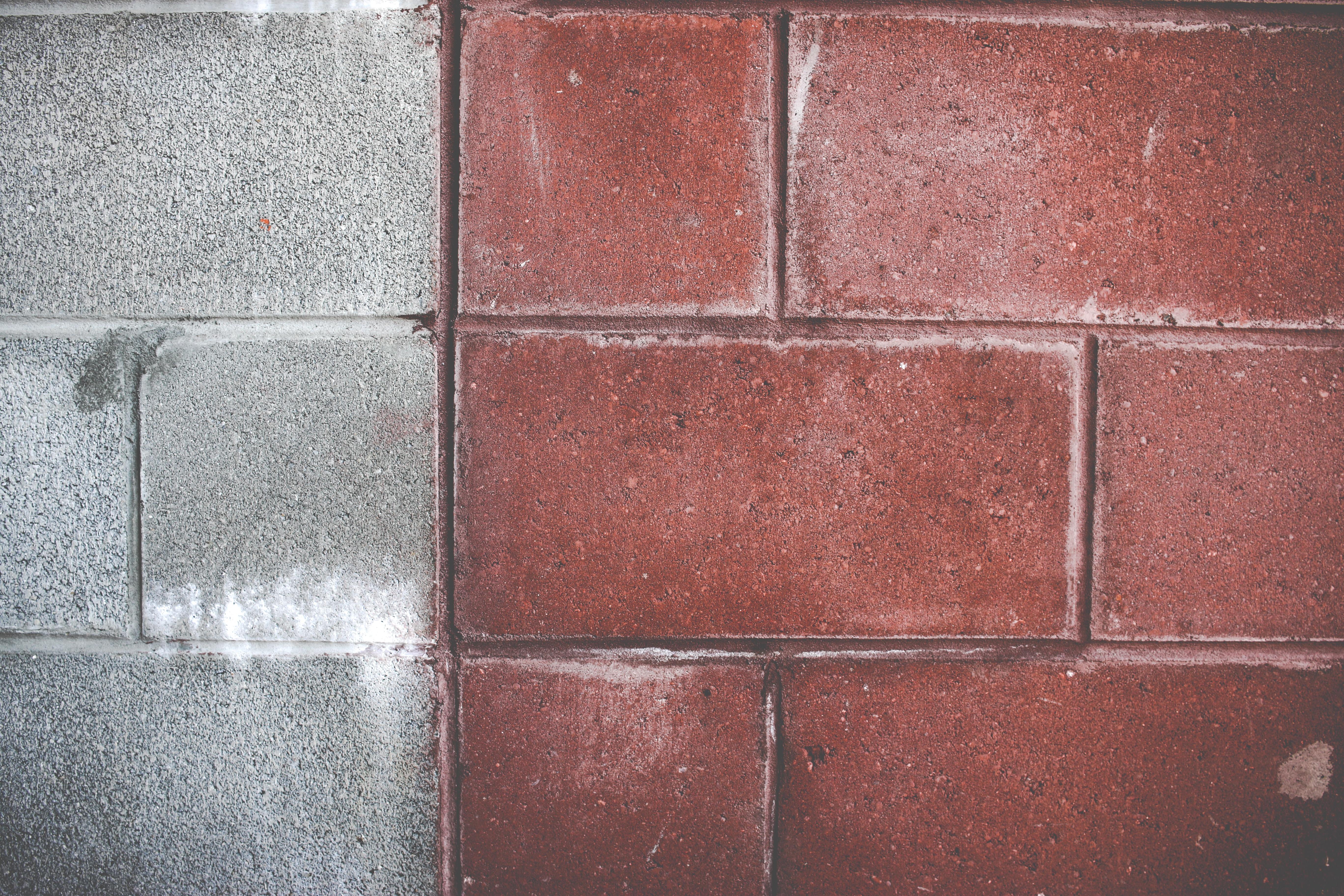 red and grey wall bricks