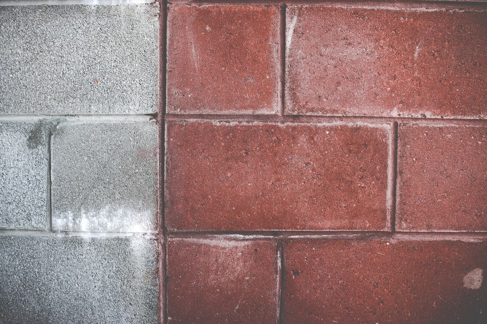 red and grey wall bricks