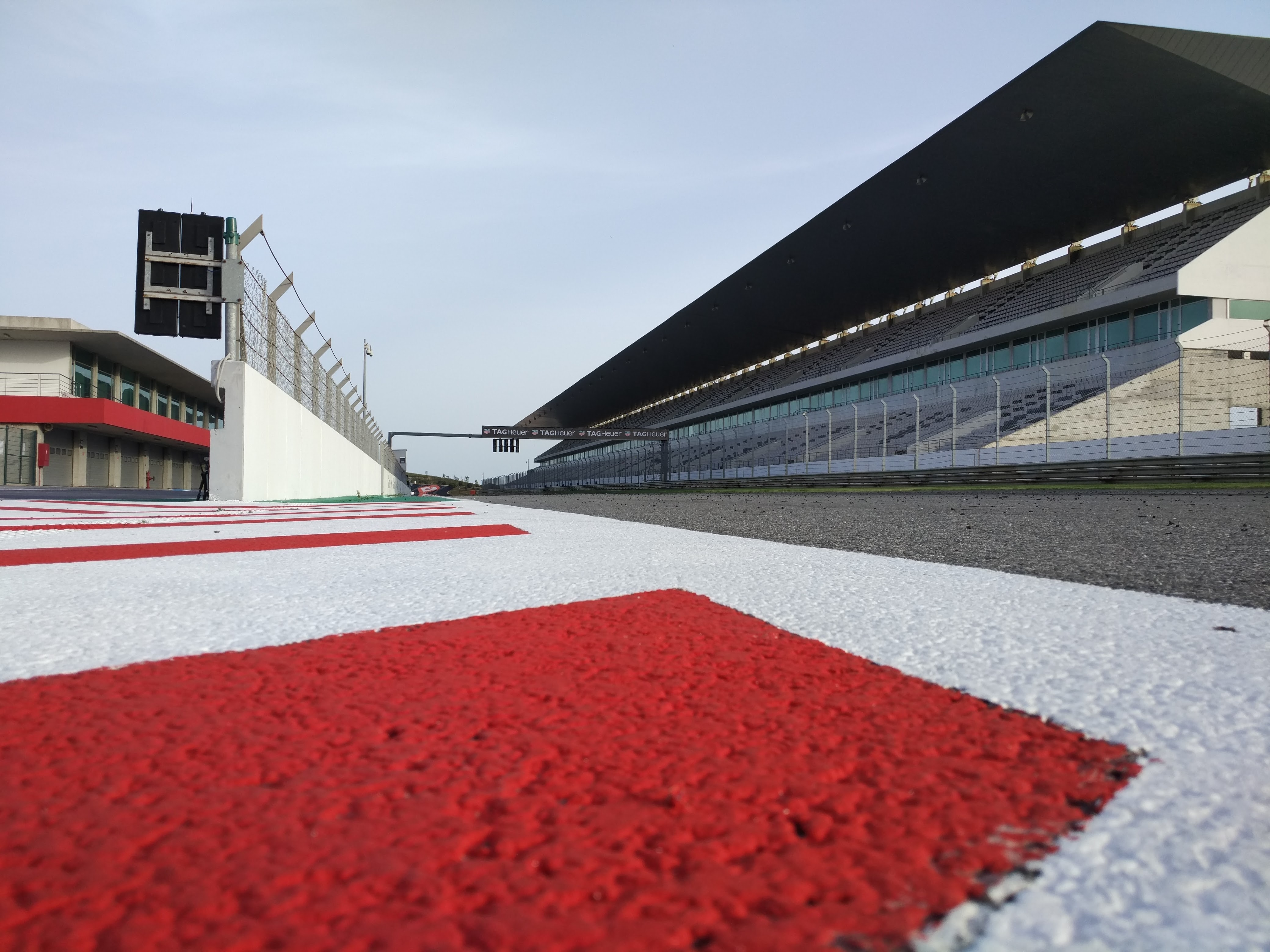 Ground-level view of the race track and the sitting area of the Algarve International Circuit.