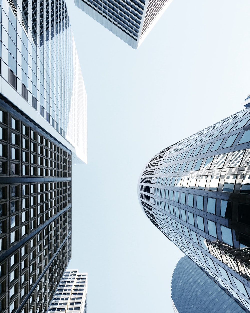 worms eye view of skyscraper