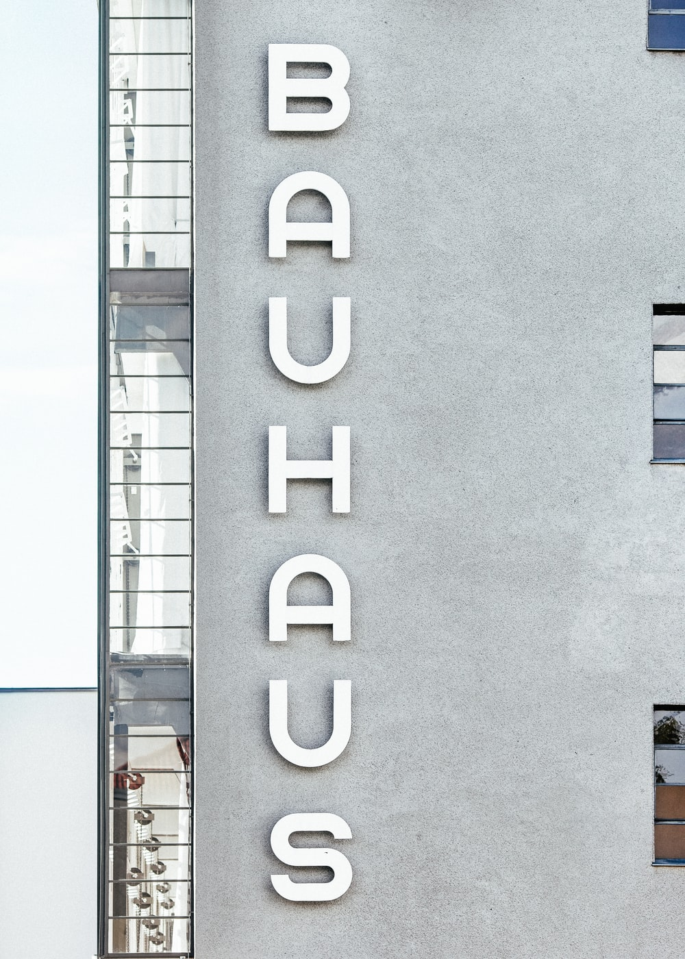 Bauhaus concrete apartment building