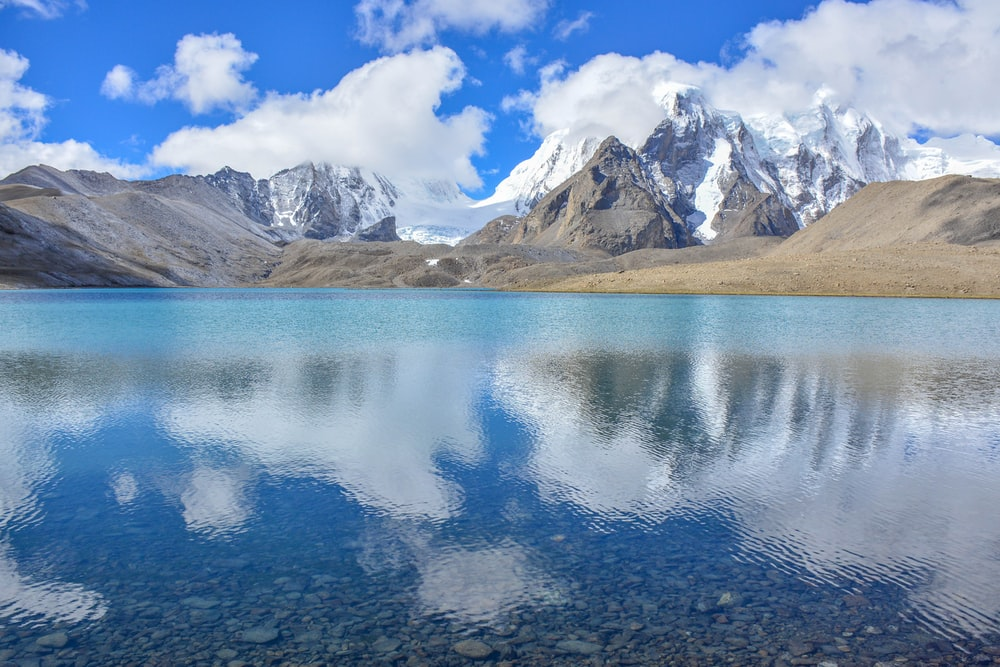 snow mountain near body of water under clear blue and white sky