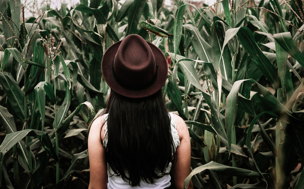 woman in photo shoot with plants background