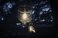 selective focus photography of lighted clear glass lamp on tree