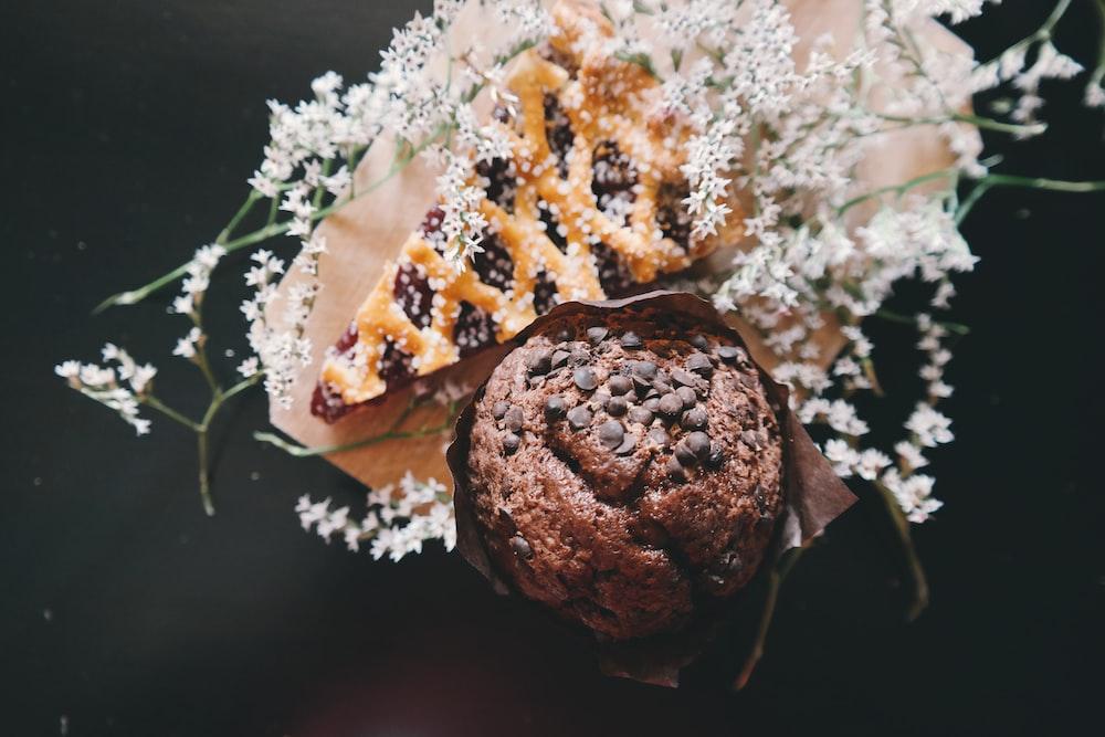 baked cookie near sliced pie