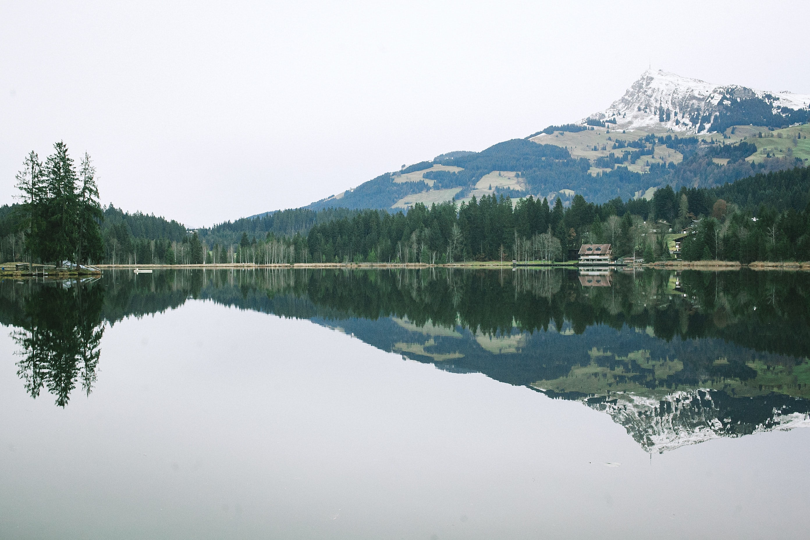 A mountain and forest reflected in a lake in Kitzbuhel