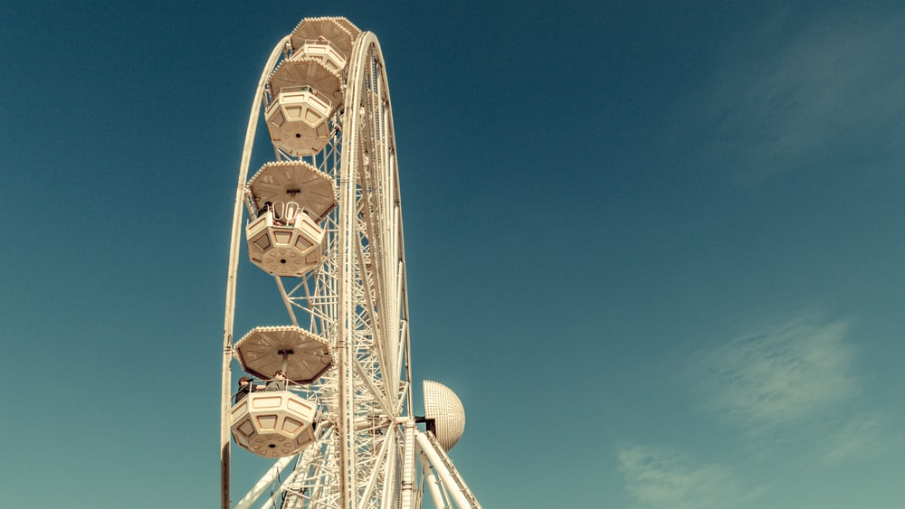 view of white Ferris Wheel