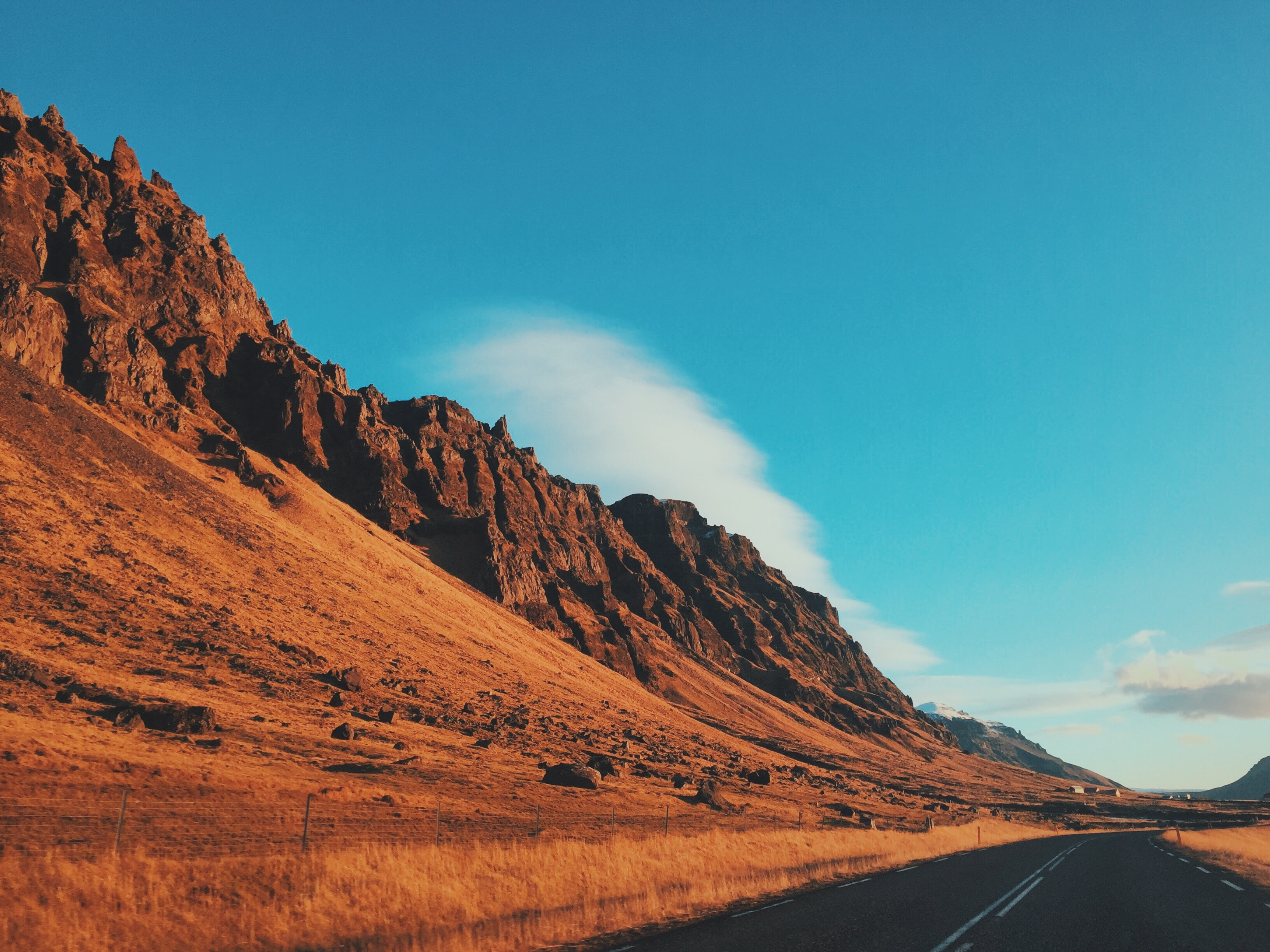 A rocky canyon highway in Iceland