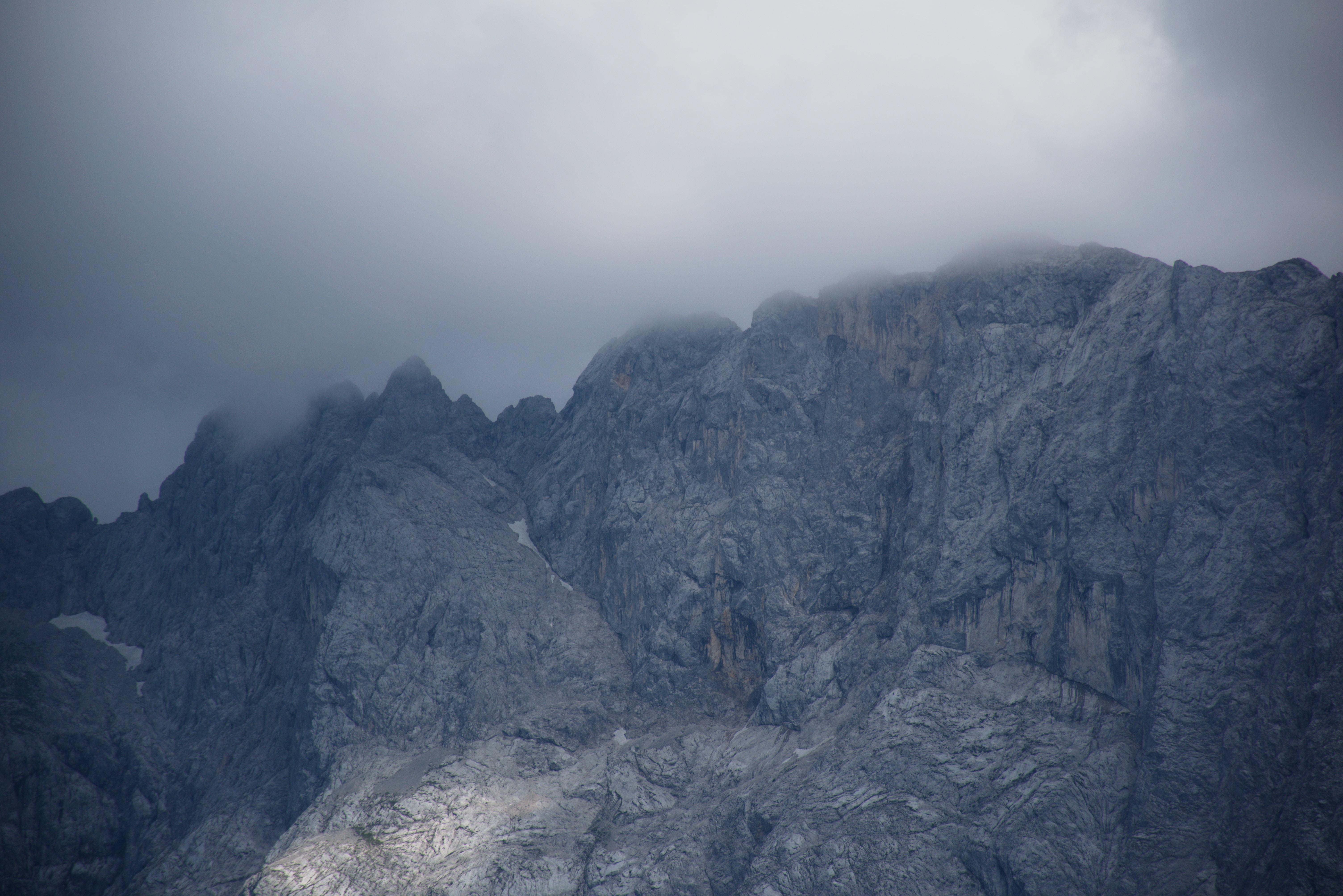 Gray rocky mountainside in Eibsee