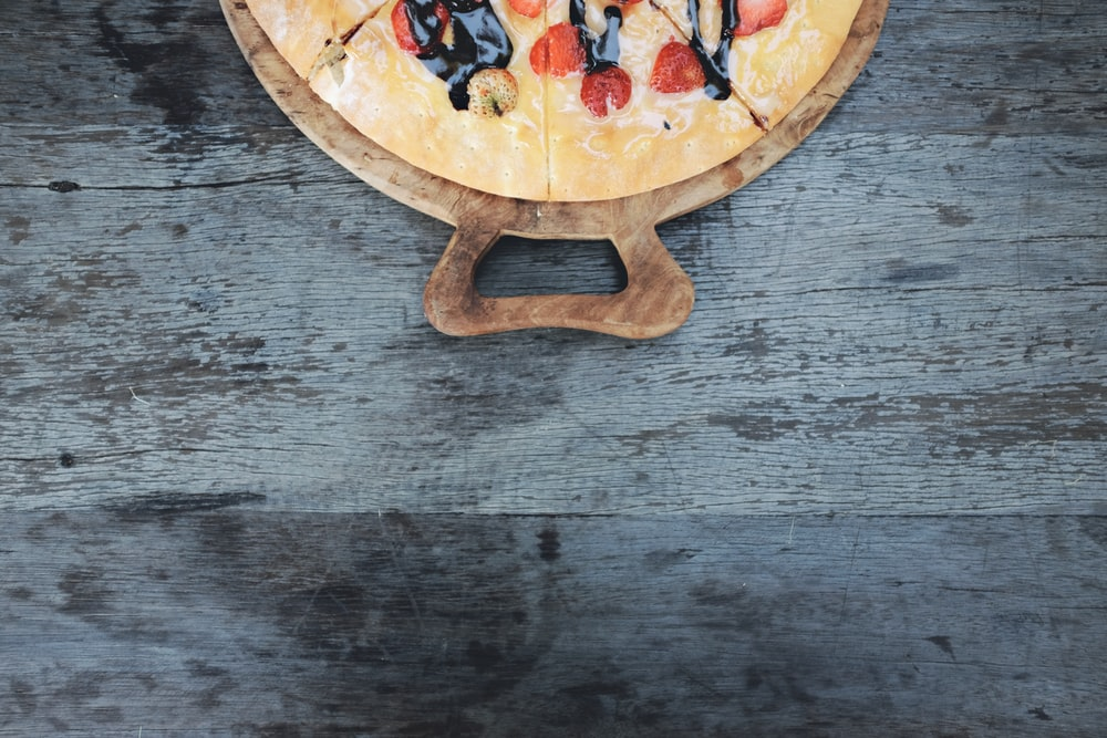 round brown pizza tray