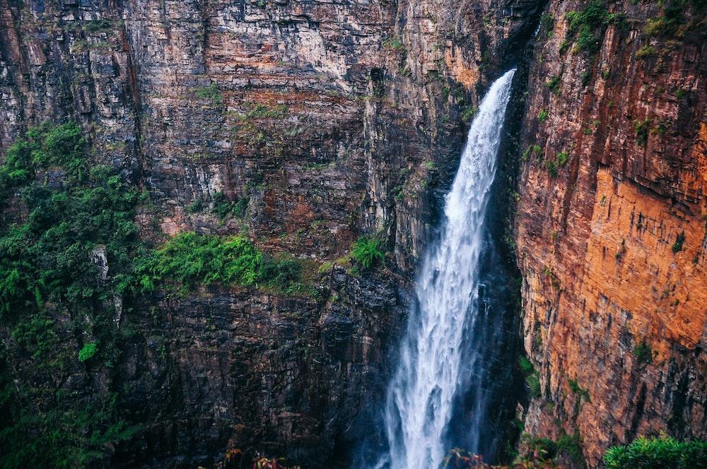 bird's eye view of waterfalls