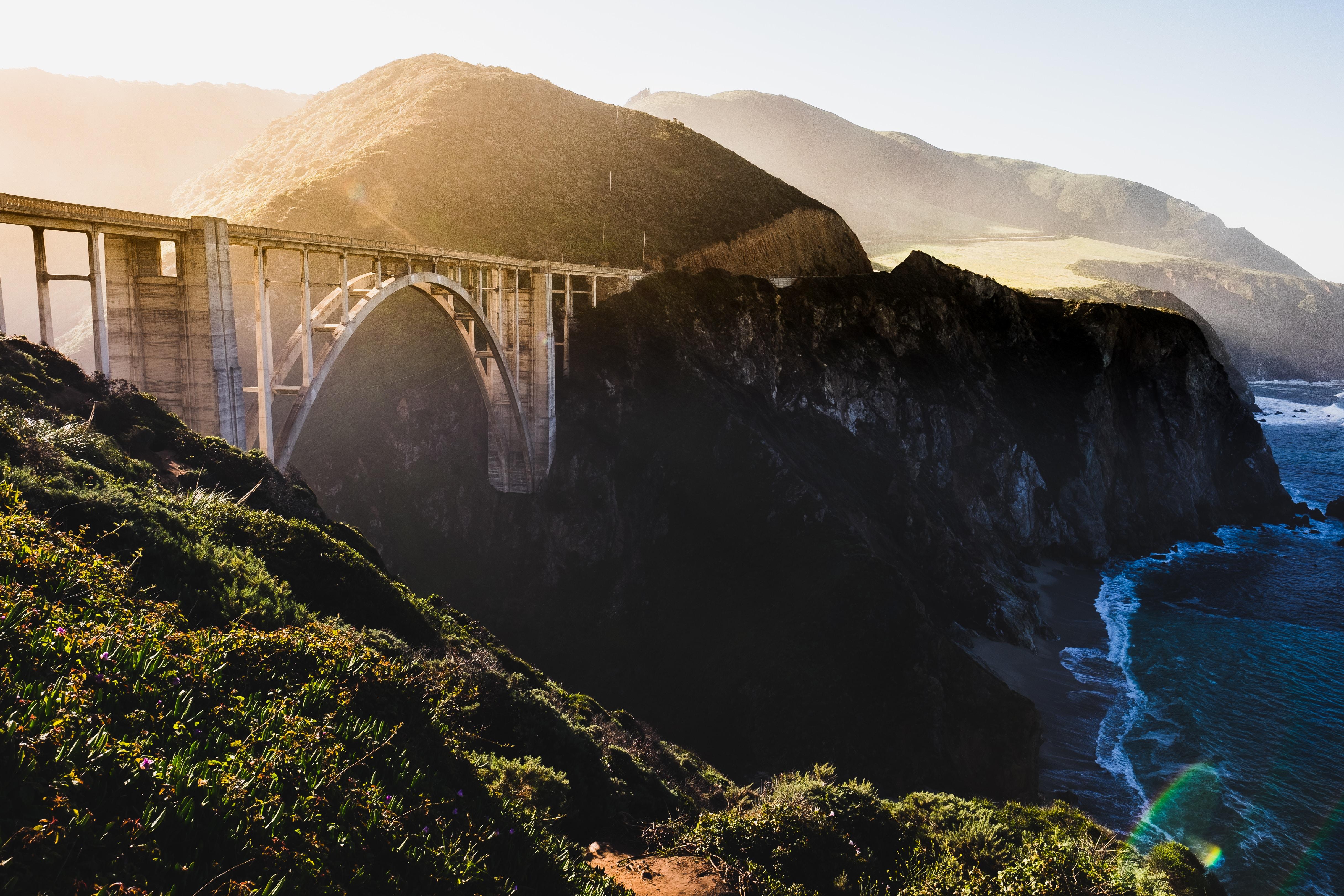 bridge and rock mountain