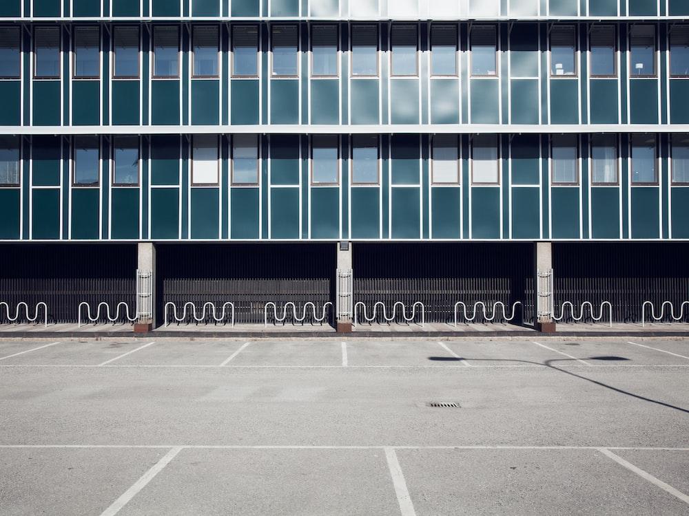gray concrete framed glass building