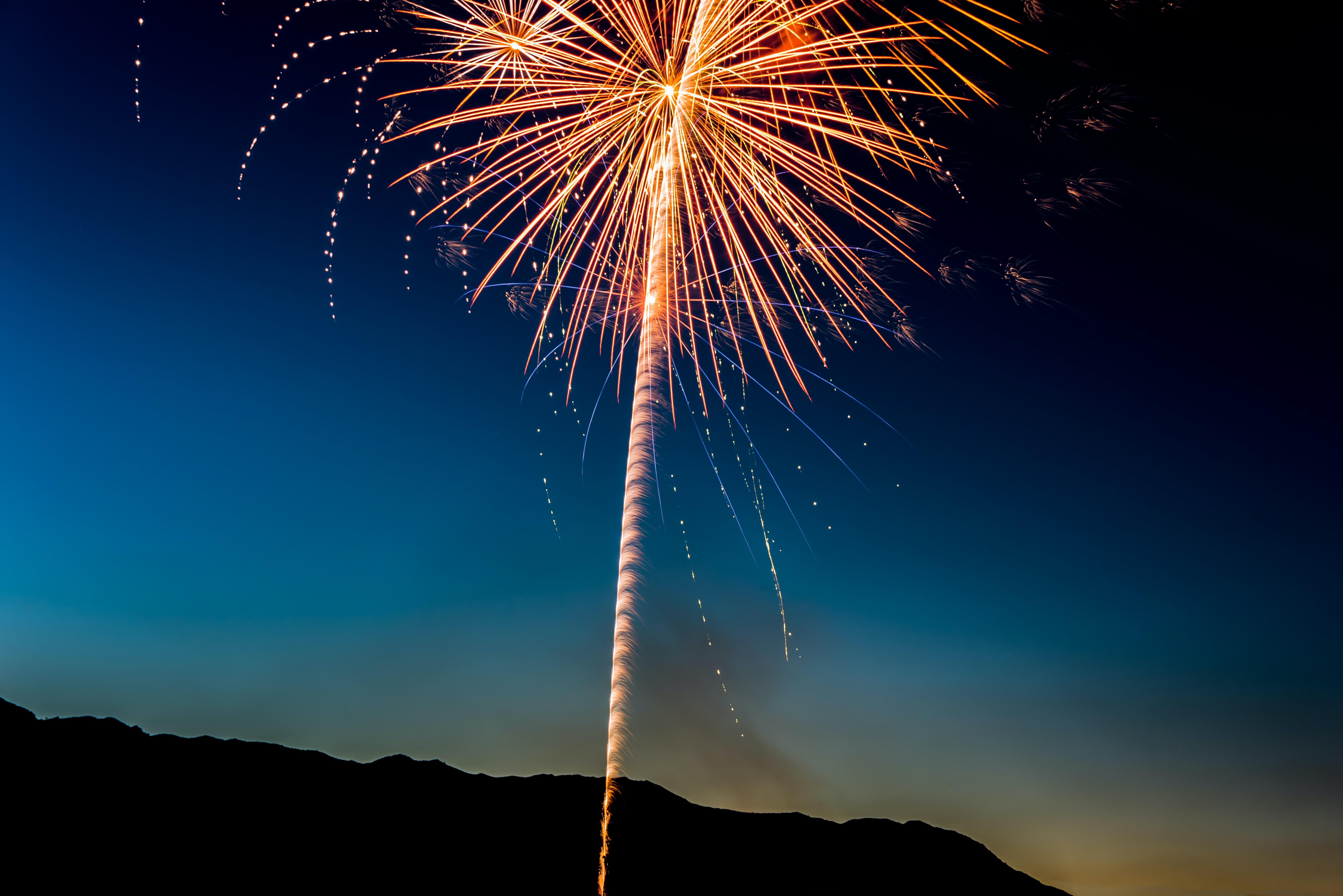 Fireworks in the night sky over Bridgeport
