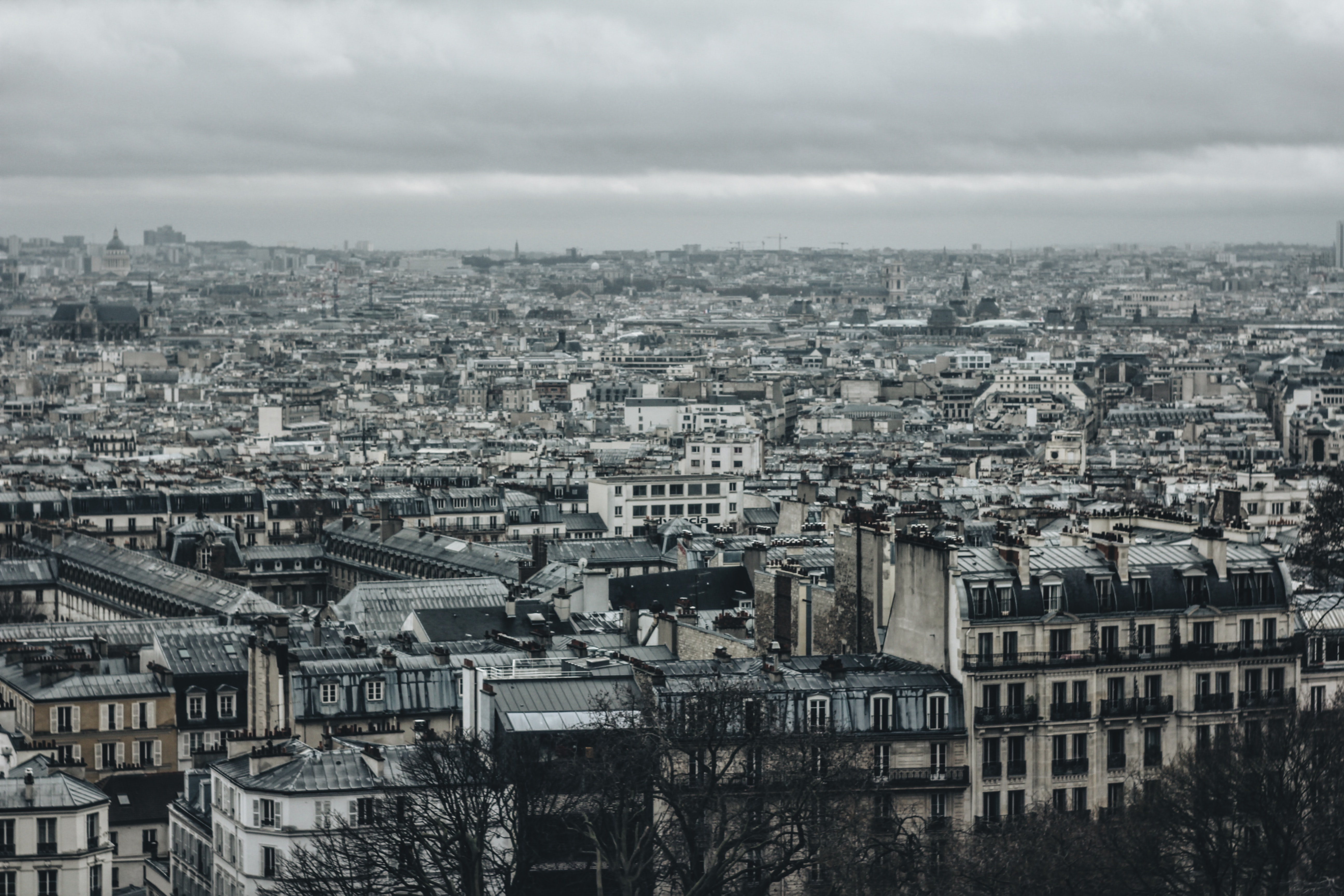 A desaturated shot of the Paris skyline on an overcast day