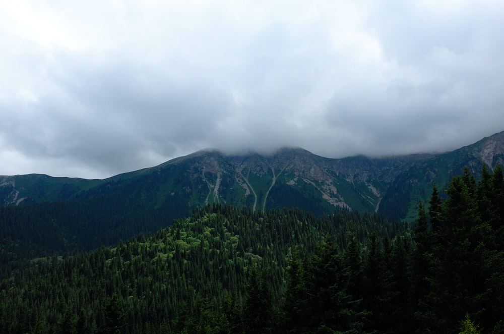 mountains under cloudy skies at daytime