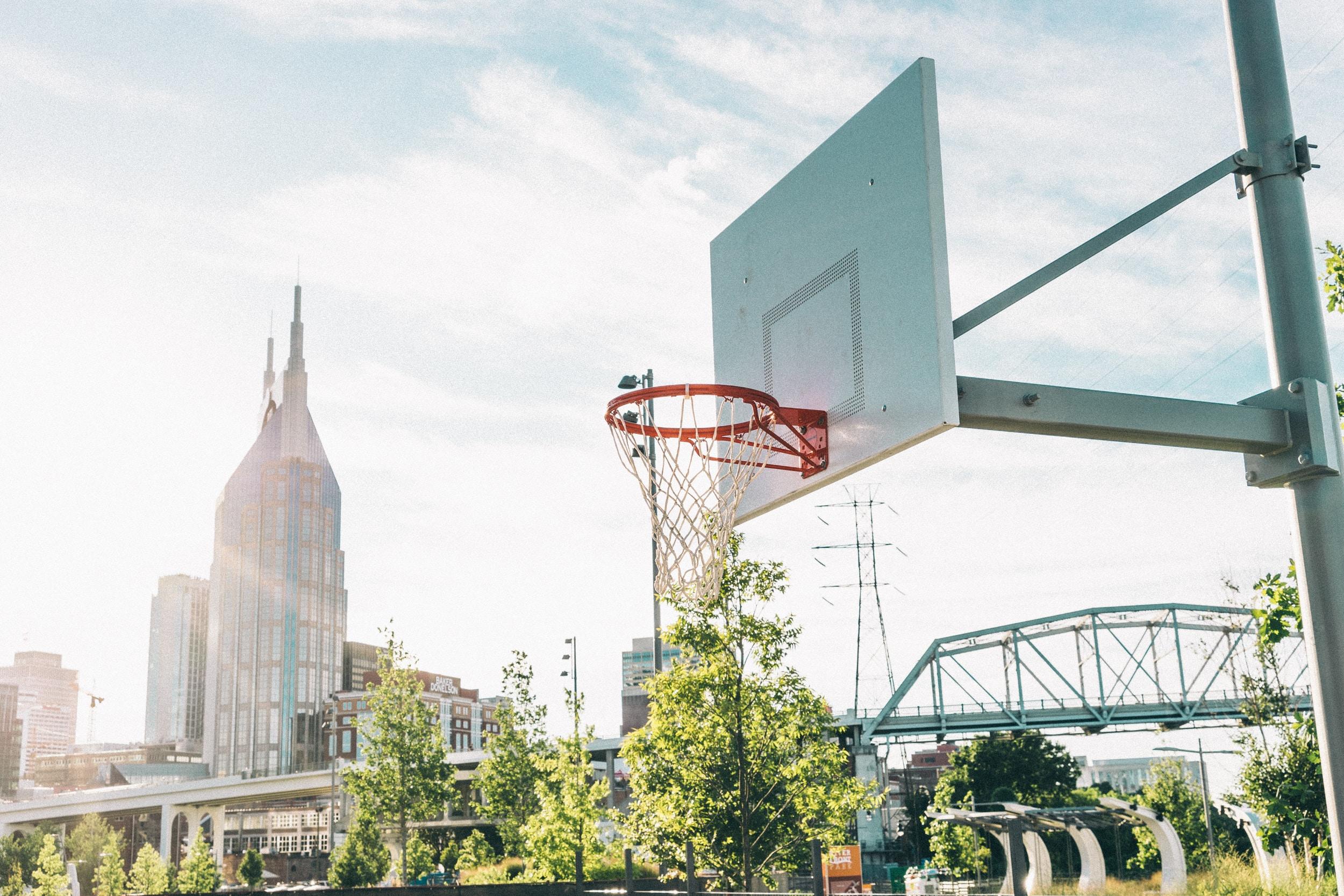 white and grey basketball hoop