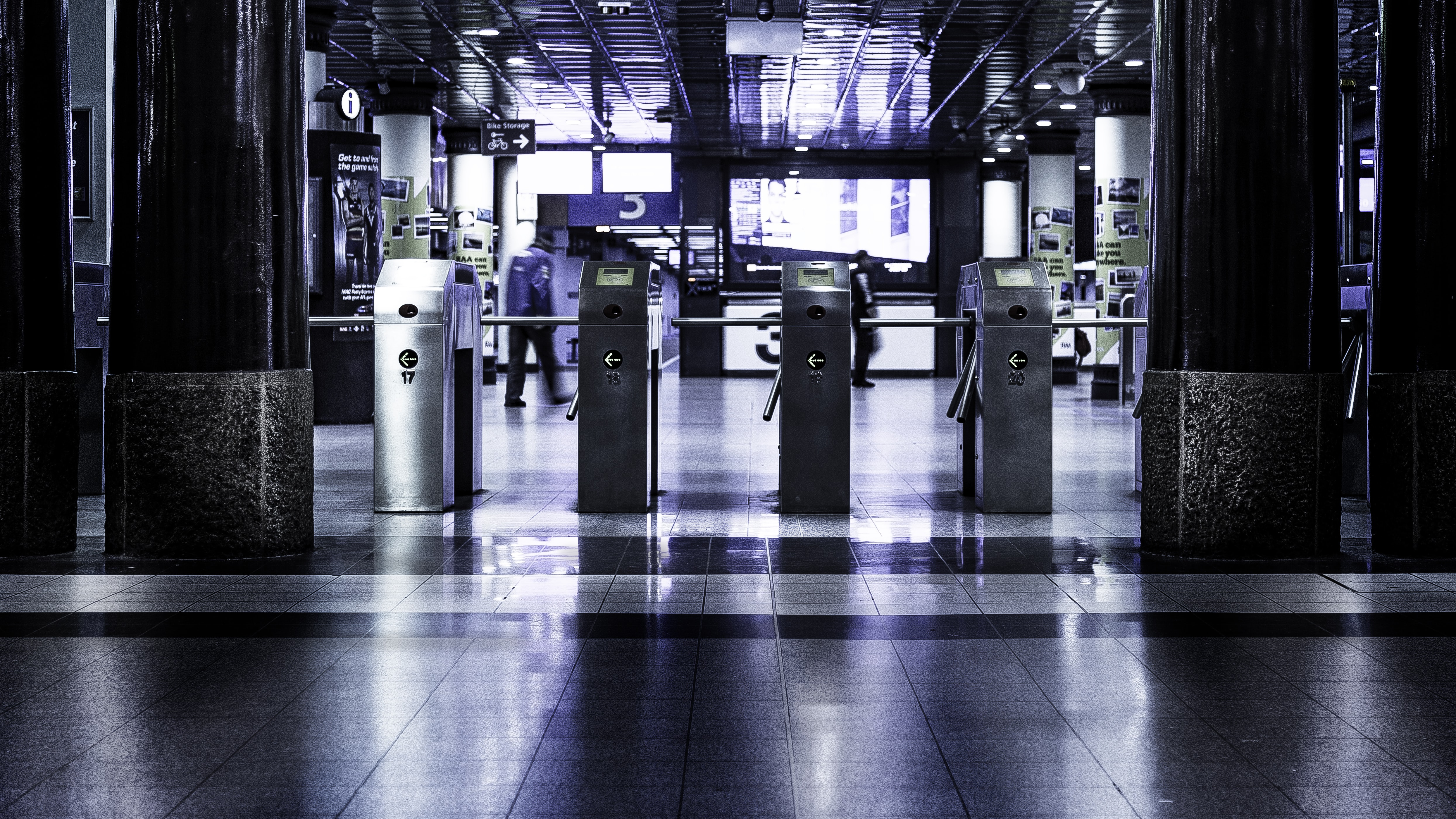Turnstiles at the entrance to a public transport station