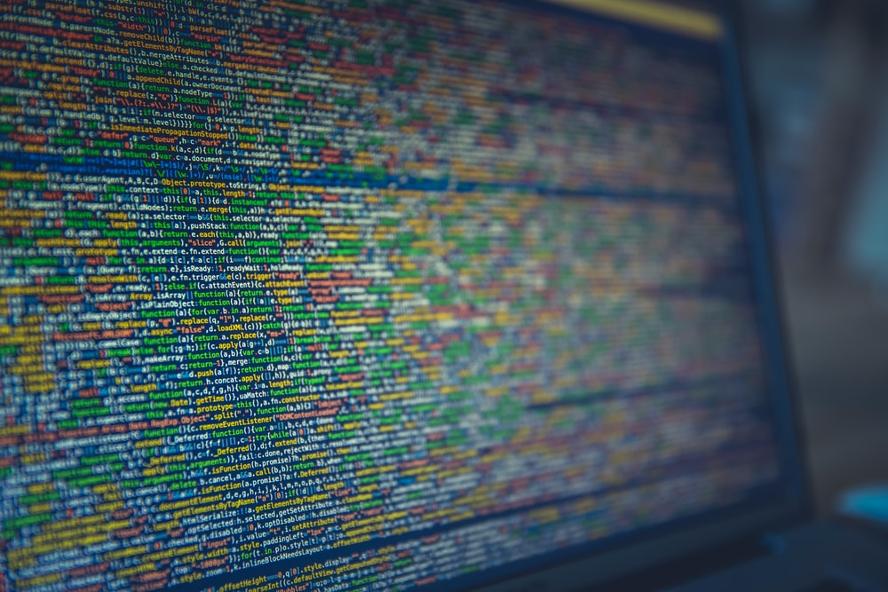 Long colorful lines of code on a computer screen