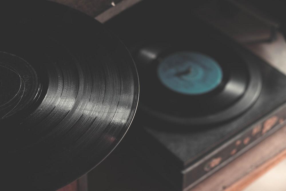 black portable vinyl records