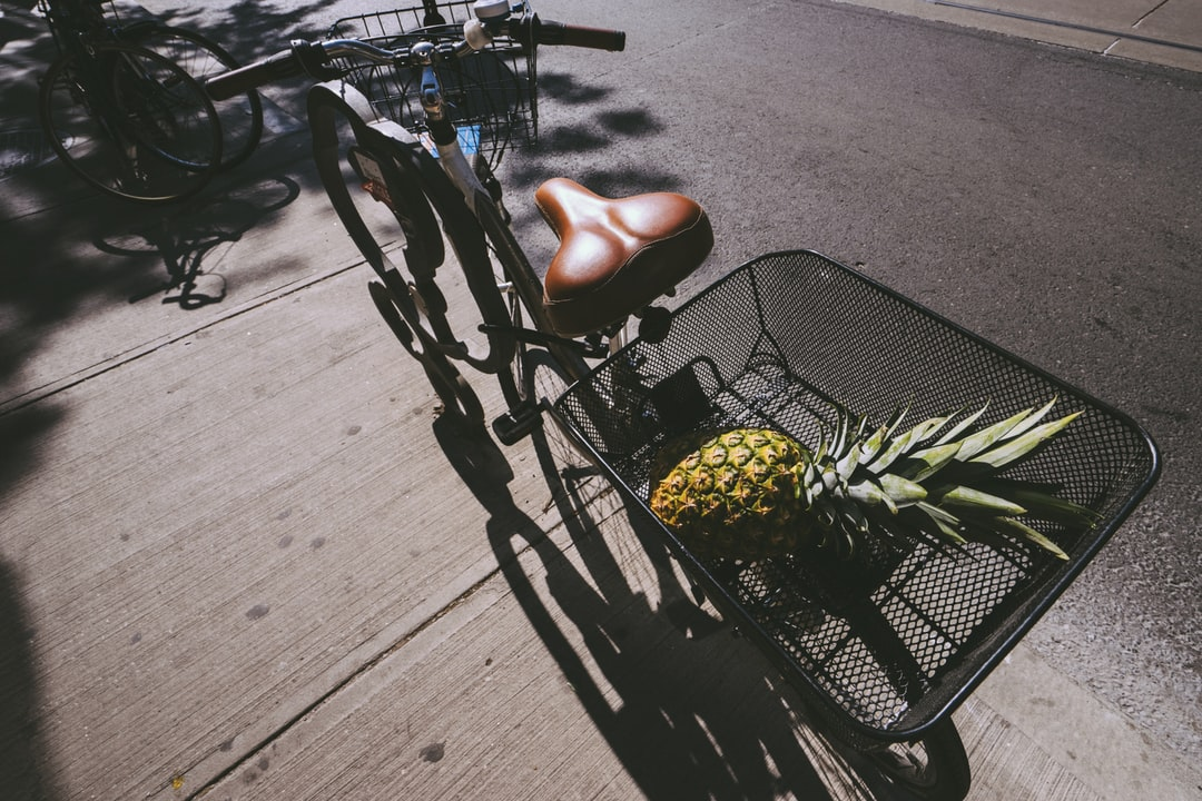 pineapple in bike basket