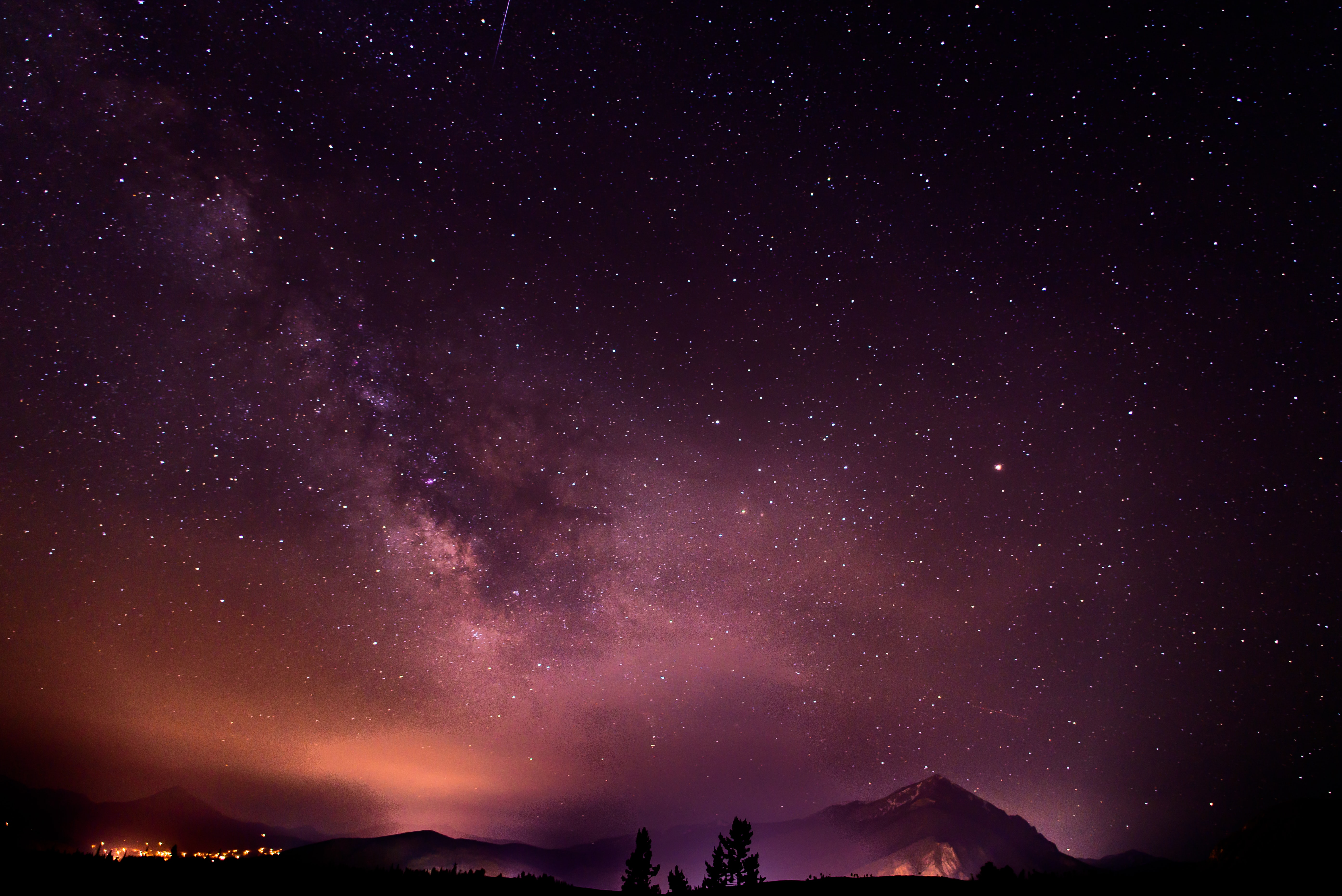 The Milky Way above the mountains in Silverthorne.