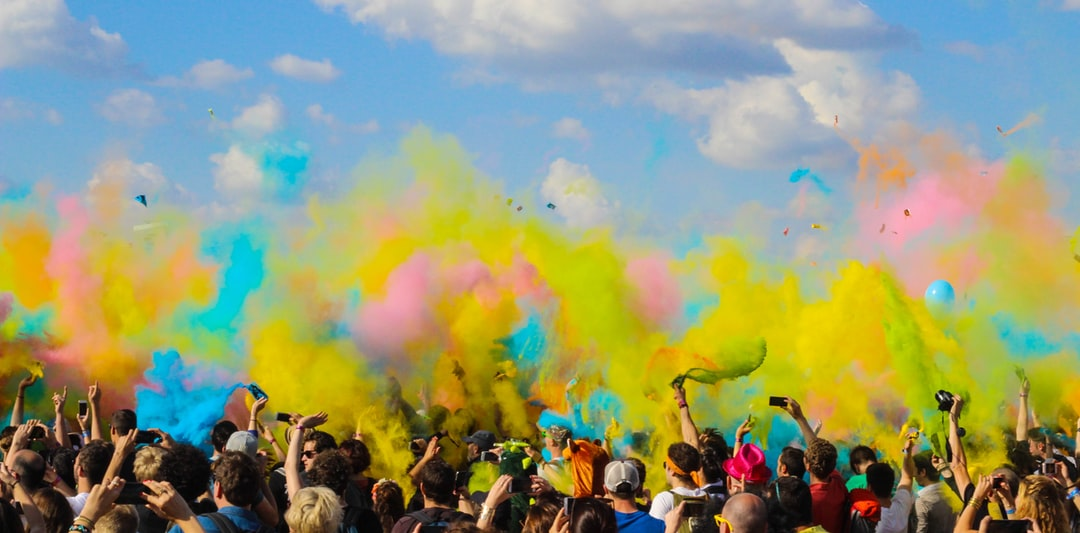 Holi festival of colors. Chalk in the air.