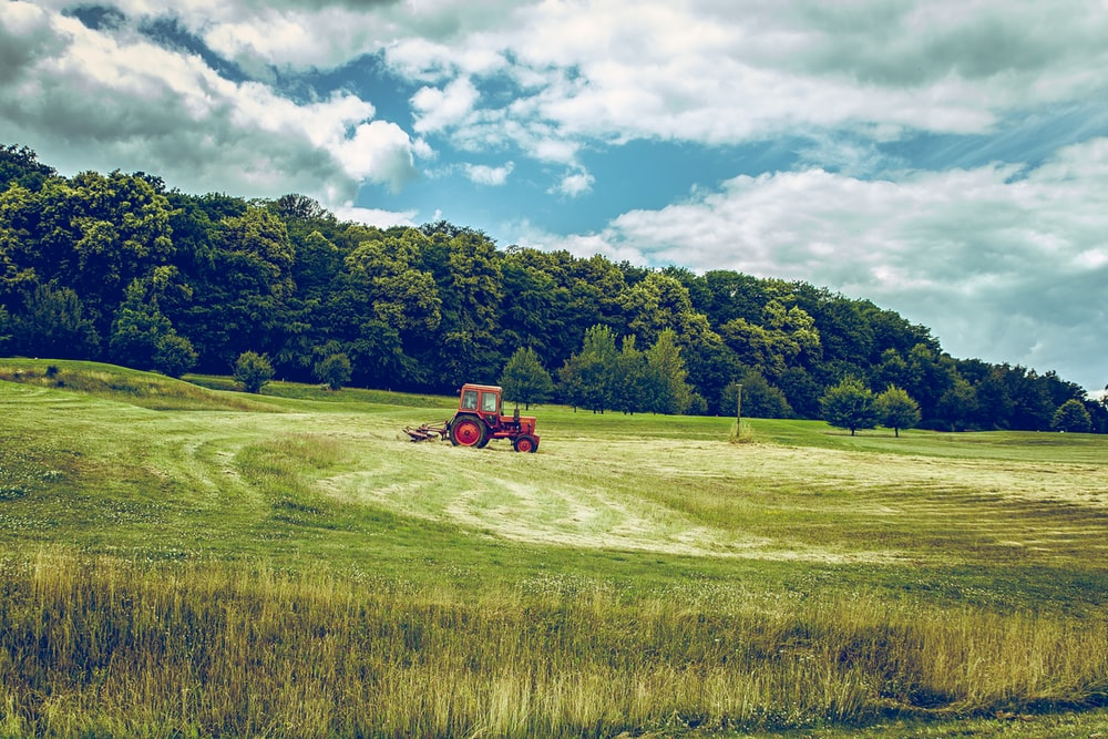 red tractor on green grass field