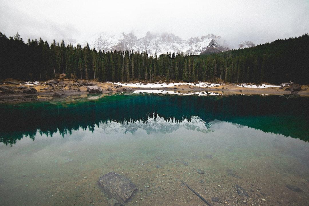 Lake Carezza forest reflection