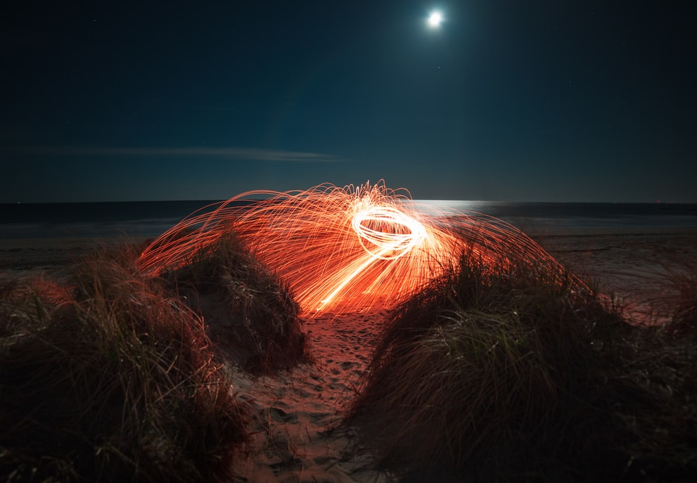 orange steelwool during night