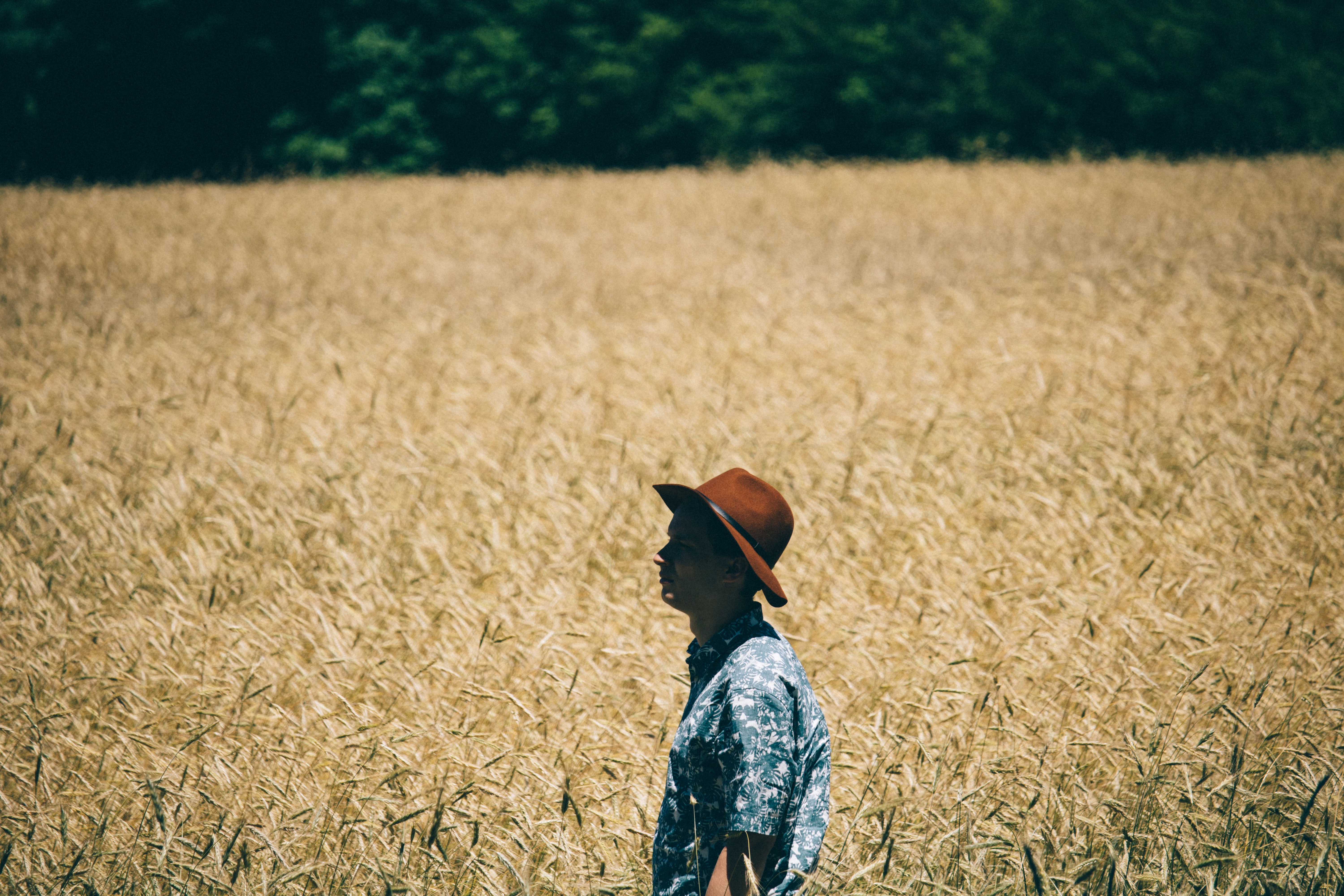 A man wearing a Hawaiian shirt and a brown hat standing in a wheatfield
