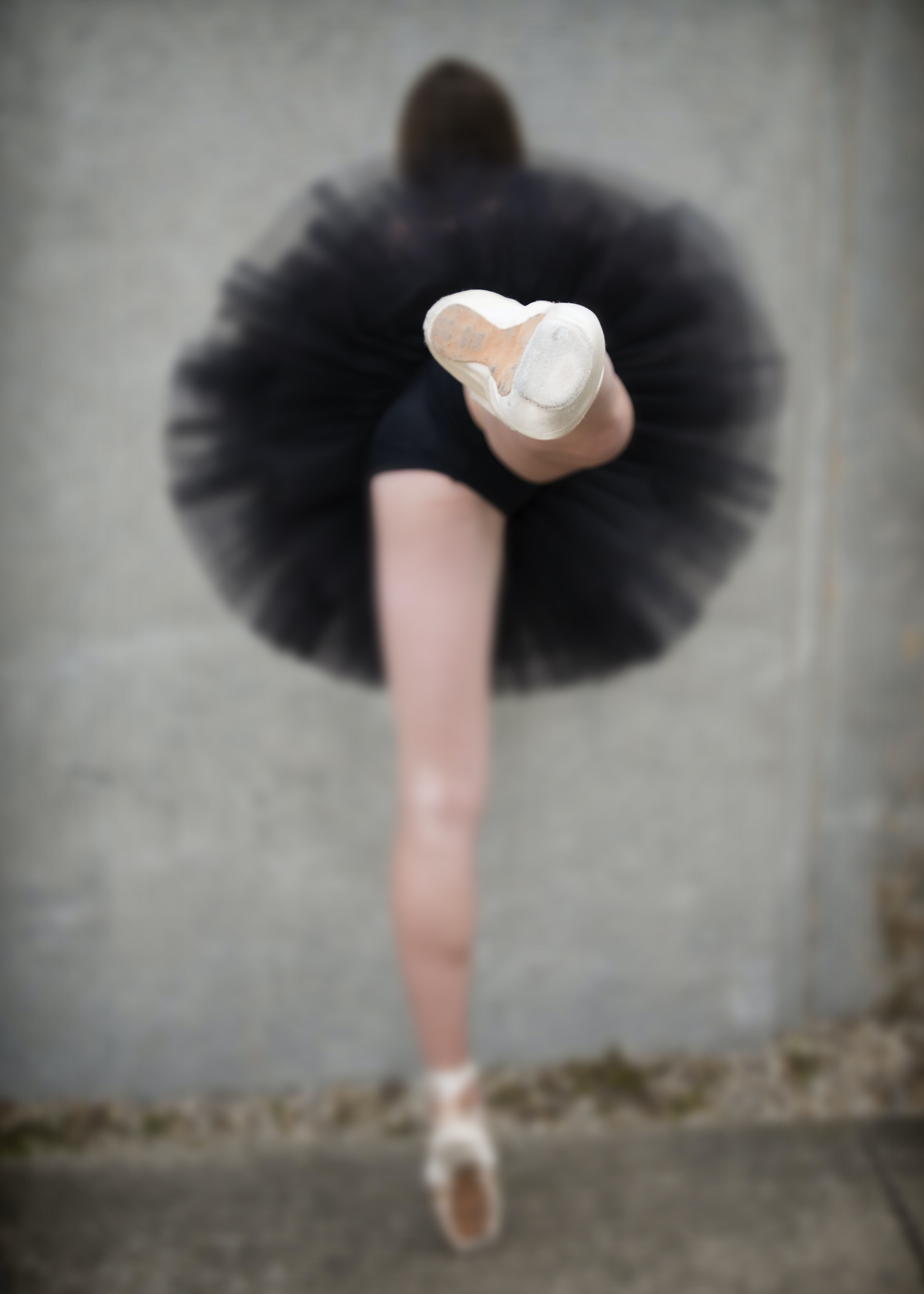 A ballerina wearing a tutu and pointe shoes in Charlevoix