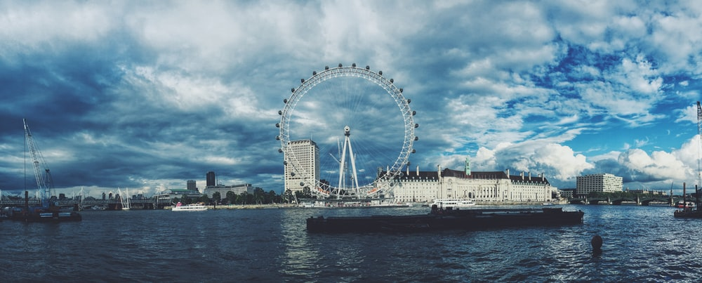 skyline photography of London Eye under white cloudy sky at daytime
